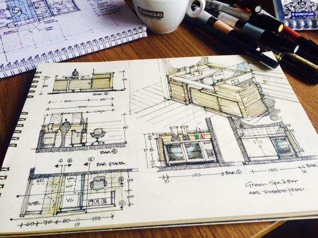 Green Bar Coffee Sketch
