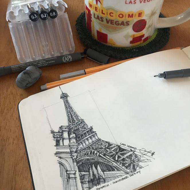 LasVegas-Paris 4 CoffeeSketch#14 Inktober